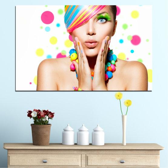Εκτύπωση σε καμβά και διακοσμητικά πάνελ τοίχου - 1 τεμάχιο №0691 » Ροζ, Πορτοκάλι, Καστανός, Άσπρο, Μπεζ » Γυναίκα, Μόδα, Μαλλιά, Μακιγιάζ Form #1