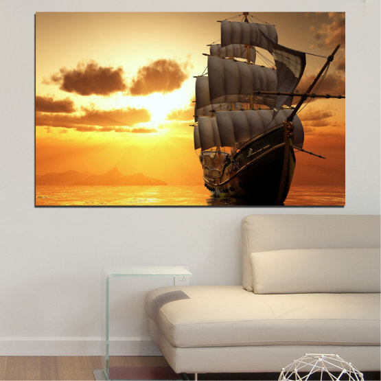Canvas prints & wall decorative panels - 1 piece №0693 » Yellow, Orange, Brown, Beige » Sea, Water, Landscape, Sunset, Dawn, Ocean, Sky, Ship, Dusk Form #1