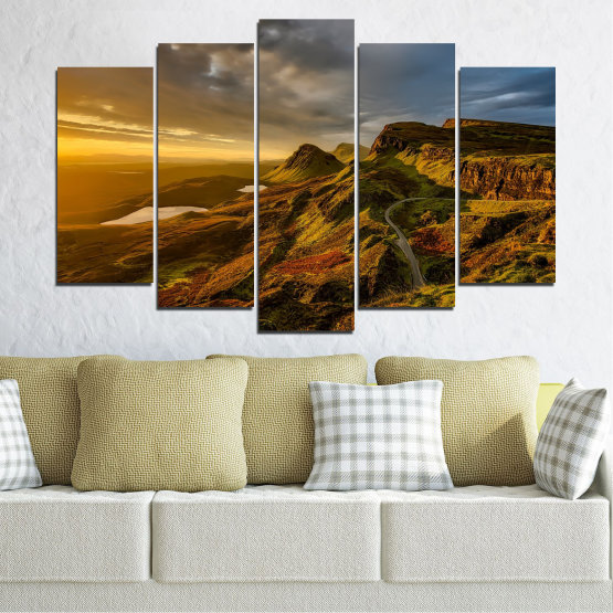 Canvas prints & wall decorative panels - 5 pieces №0697 » Brown, Black, Gray, Dark grey » Landscape, Sunset, Mountain, Sunrise, Sky, Autumn, Highland, Mountains, Clouds, Canyon, Rock, Land, Valley Form #1