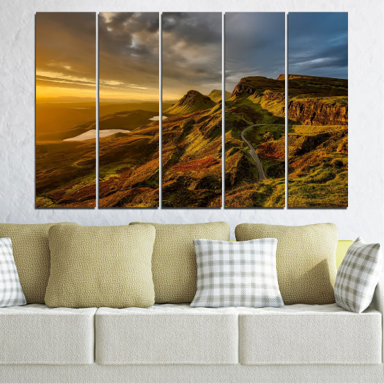 Canvas prints & wall decorative panels - 5 pieces №0697 » Brown, Black, Gray, Dark grey » Landscape, Sunset, Mountain, Sunrise, Sky, Autumn, Highland, Mountains, Clouds, Canyon, Rock, Land, Valley Form #2