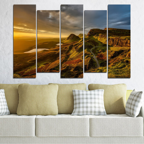 Canvas prints & wall decorative panels - 5 pieces №0697 » Brown, Black, Gray, Dark grey » Landscape, Sunset, Mountain, Sunrise, Sky, Autumn, Highland, Mountains, Clouds, Canyon, Rock, Land, Valley Form #3