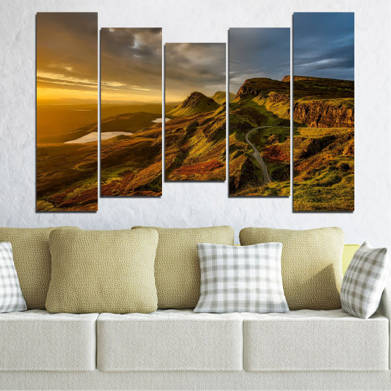 Canvas prints & wall decorative panels - 5 pieces №0697 » Brown, Black, Gray, Dark grey » Landscape, Sunset, Mountain, Sunrise, Sky, Autumn, Highland, Mountains, Clouds, Canyon, Rock, Land, Valley Form #4
