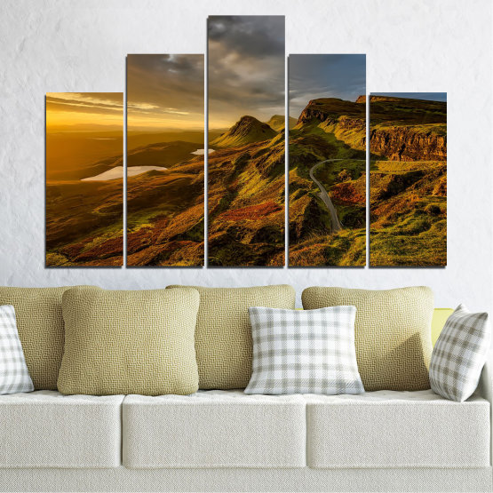 Canvas prints & wall decorative panels - 5 pieces №0697 » Brown, Black, Gray, Dark grey » Landscape, Sunset, Mountain, Sunrise, Sky, Autumn, Highland, Mountains, Clouds, Canyon, Rock, Land, Valley Form #5