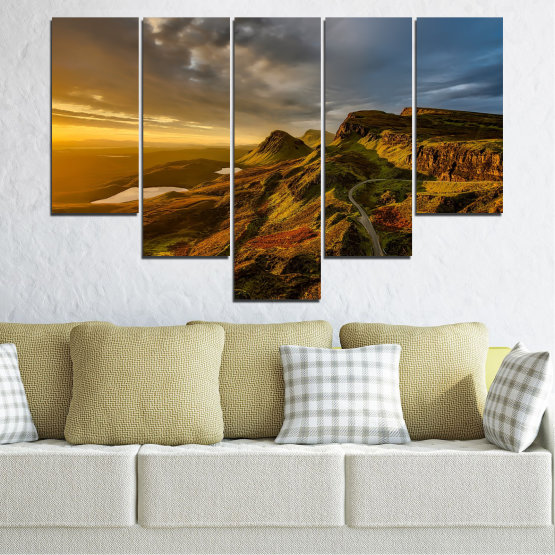 Canvas prints & wall decorative panels - 5 pieces №0697 » Brown, Black, Gray, Dark grey » Landscape, Sunset, Mountain, Sunrise, Sky, Autumn, Highland, Mountains, Clouds, Canyon, Rock, Land, Valley Form #6