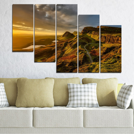 Canvas prints & wall decorative panels - 5 pieces №0697 » Brown, Black, Gray, Dark grey » Landscape, Sunset, Mountain, Sunrise, Sky, Autumn, Highland, Mountains, Clouds, Canyon, Rock, Land, Valley Form #7