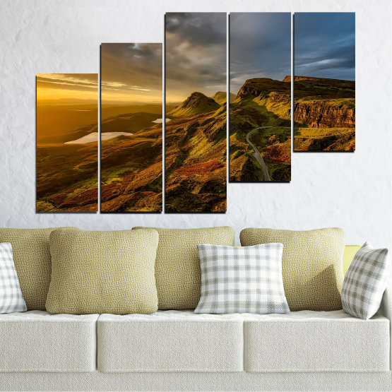 Canvas prints & wall decorative panels - 5 pieces №0697 » Brown, Black, Gray, Dark grey » Landscape, Sunset, Mountain, Sunrise, Sky, Autumn, Highland, Mountains, Clouds, Canyon, Rock, Land, Valley Form #8