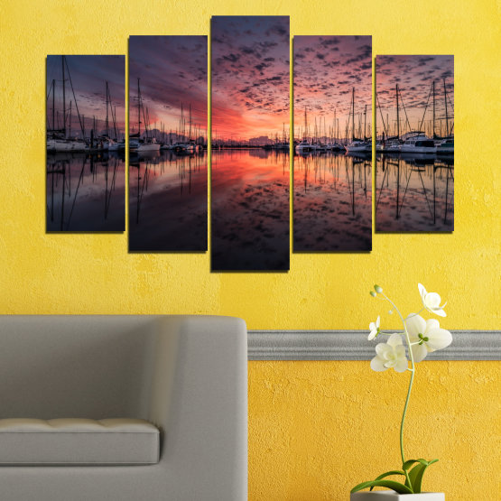 Canvas prints & wall decorative panels - 5 pieces №0698 » Orange, Brown, Black, Gray, Dark grey » Landscape, Sea, Sunset, Water, Sunrise, Sky, Ocean, Ship, Reflection, Night, Boat, Marina, Port Form #1
