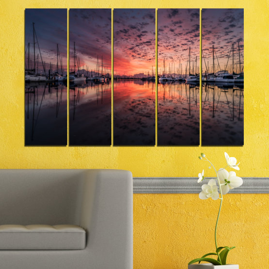 Canvas prints & wall decorative panels - 5 pieces №0698 » Orange, Brown, Black, Gray, Dark grey » Landscape, Sea, Sunset, Water, Sunrise, Sky, Ocean, Ship, Reflection, Night, Boat, Marina, Port Form #2