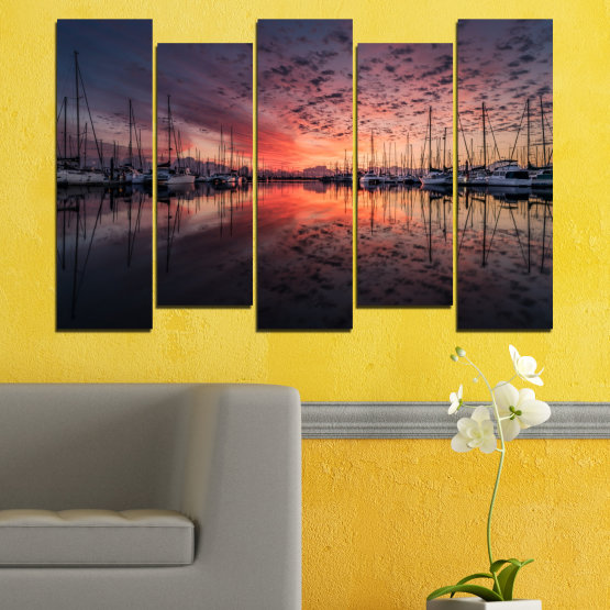 Canvas prints & wall decorative panels - 5 pieces №0698 » Orange, Brown, Black, Gray, Dark grey » Landscape, Sea, Sunset, Water, Sunrise, Sky, Ocean, Ship, Reflection, Night, Boat, Marina, Port Form #3