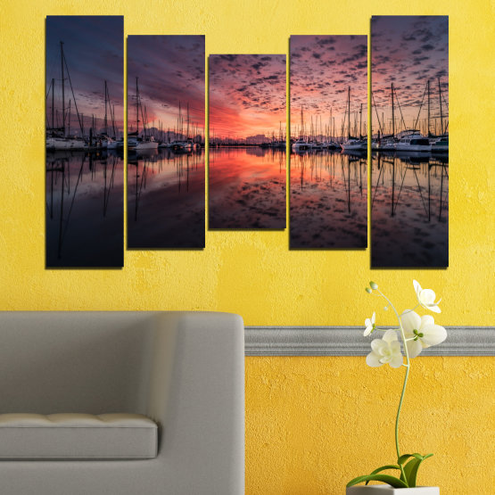Canvas prints & wall decorative panels - 5 pieces №0698 » Orange, Brown, Black, Gray, Dark grey » Landscape, Sea, Sunset, Water, Sunrise, Sky, Ocean, Ship, Reflection, Night, Boat, Marina, Port Form #4