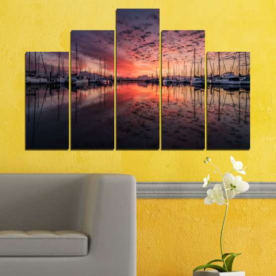 Canvas prints & wall decorative panels - 5 pieces №0698 » Orange, Brown, Black, Gray, Dark grey » Landscape, Sea, Sunset, Water, Sunrise, Sky, Ocean, Ship, Reflection, Night, Boat, Marina, Port Form #5