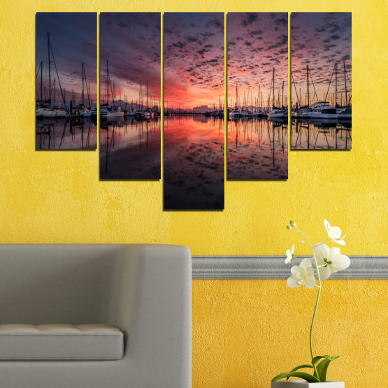 Canvas prints & wall decorative panels - 5 pieces №0698 » Orange, Brown, Black, Gray, Dark grey » Landscape, Sea, Sunset, Water, Sunrise, Sky, Ocean, Ship, Reflection, Night, Boat, Marina, Port Form #6