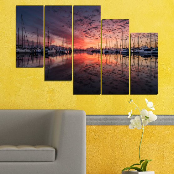 Canvas prints & wall decorative panels - 5 pieces №0698 » Orange, Brown, Black, Gray, Dark grey » Landscape, Sea, Sunset, Water, Sunrise, Sky, Ocean, Ship, Reflection, Night, Boat, Marina, Port Form #7