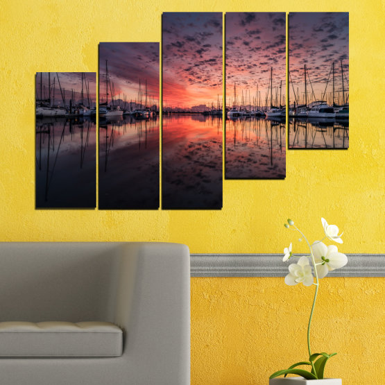 Canvas prints & wall decorative panels - 5 pieces №0698 » Orange, Brown, Black, Gray, Dark grey » Landscape, Sea, Sunset, Water, Sunrise, Sky, Ocean, Ship, Reflection, Night, Boat, Marina, Port Form #8