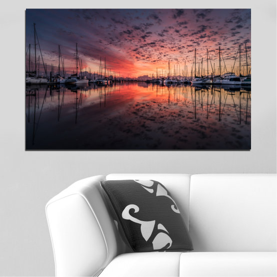 Canvas prints & wall decorative panels - 1 piece №0698 » Orange, Brown, Black, Gray, Dark grey » Landscape, Sea, Water, Sunset, Ocean, Sunrise, Ship, Sky, Reflection, Night, Boat, Marina, Port Form #1