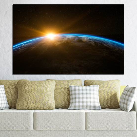 Canvas prints & wall decorative panels - 1 piece №0699 » Blue, Brown, Black, Dark grey » Sun, Sky, Star, Light, Horizon, Natural, Astronomy, Dark Form #1
