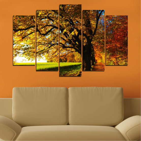 Canvas prints & wall decorative panels - 5 pieces №0700 » Red, Green, Brown, Black » Forest, Spring, Tree, Autumn, Leaf, Trees, Wood, Leaves, Oak, Yellow, November Form #1