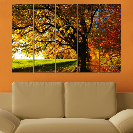 Canvas prints & wall decorative panels - 5 pieces №0700 » Red, Green, Brown, Black » Forest, Spring, Tree, Autumn, Leaf, Trees, Wood, Leaves, Oak, Yellow, November Form #2