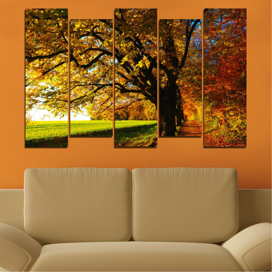 Canvas prints & wall decorative panels - 5 pieces №0700 » Red, Green, Brown, Black » Forest, Spring, Tree, Autumn, Leaf, Trees, Wood, Leaves, Oak, Yellow, November Form #3