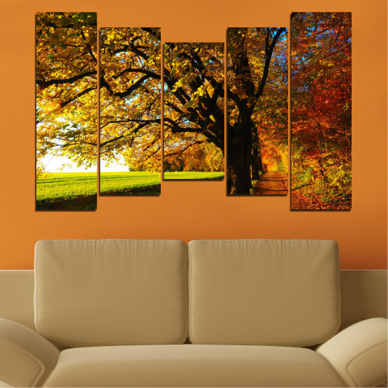 Canvas prints & wall decorative panels - 5 pieces №0700 » Red, Green, Brown, Black » Forest, Spring, Tree, Autumn, Leaf, Trees, Wood, Leaves, Oak, Yellow, November Form #4