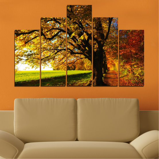 Canvas prints & wall decorative panels - 5 pieces №0700 » Red, Green, Brown, Black » Forest, Spring, Tree, Autumn, Leaf, Trees, Wood, Leaves, Oak, Yellow, November Form #5