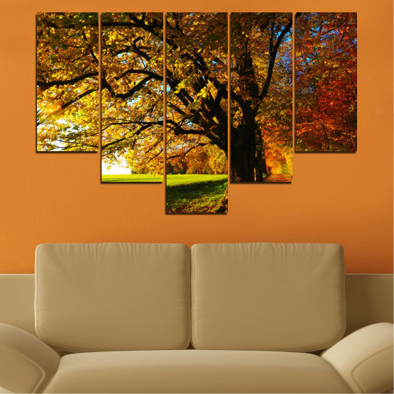 Canvas prints & wall decorative panels - 5 pieces №0700 » Red, Green, Brown, Black » Forest, Spring, Tree, Autumn, Leaf, Trees, Wood, Leaves, Oak, Yellow, November Form #6