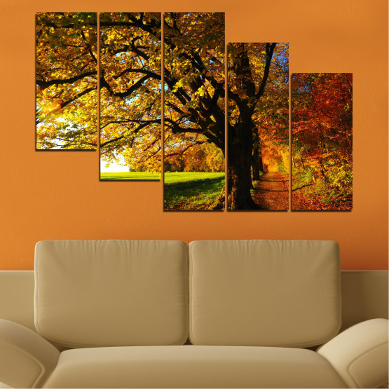 Canvas prints & wall decorative panels - 5 pieces №0700 » Red, Green, Brown, Black » Forest, Spring, Tree, Autumn, Leaf, Trees, Wood, Leaves, Oak, Yellow, November Form #7
