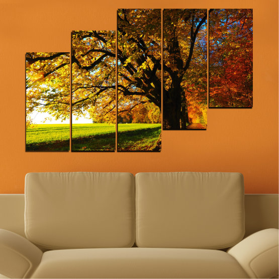 Canvas prints & wall decorative panels - 5 pieces №0700 » Red, Green, Brown, Black » Forest, Spring, Tree, Autumn, Leaf, Trees, Wood, Leaves, Oak, Yellow, November Form #8