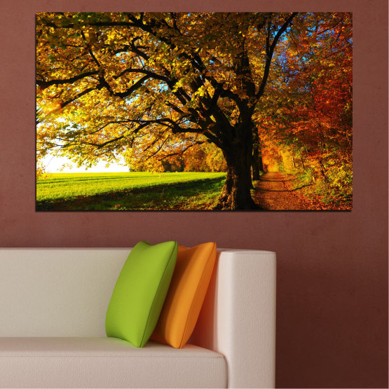 Canvas prints & wall decorative panels - 1 piece №0700 » Red, Green, Brown, Black » Forest, Spring, Tree, Autumn, Leaf, Trees, Wood, Leaves, Oak, Yellow, November Form #1