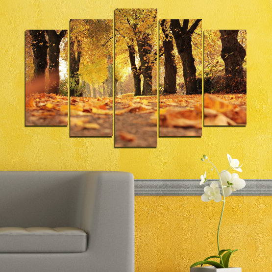 Canvas prints & wall decorative panels - 5 pieces №0701 » Yellow, Orange, Brown, Black » Forest, Spring, Tree, Autumn, Wood, Leaves, Park, Alley, Yellow, Fall Form #1