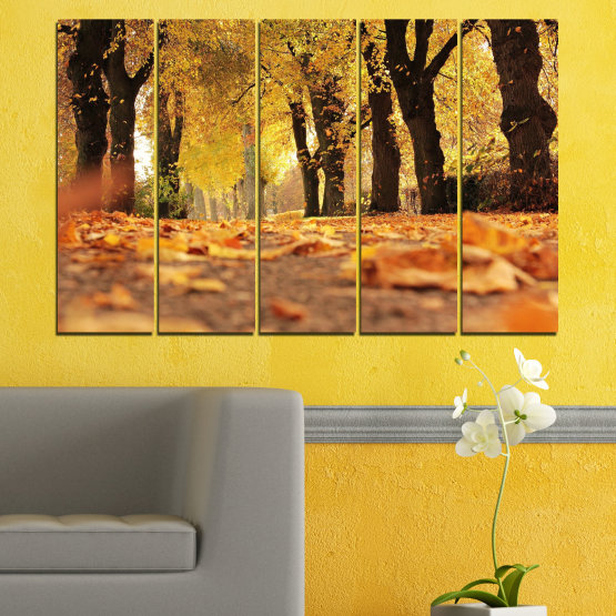 Εκτύπωση σε καμβά και διακοσμητικά πάνελ τοίχου - 5 τεμάχια №0701 » Κίτρινος, Πορτοκάλι, Καστανός, Μαύρος » Δάσος, Άνοιξη, Δέντρο, Φθινόπωρο, Ξύλο, Φύλλα, Πάρκο, Δρομάκι, Κίτρινος, Πτώση Form #2
