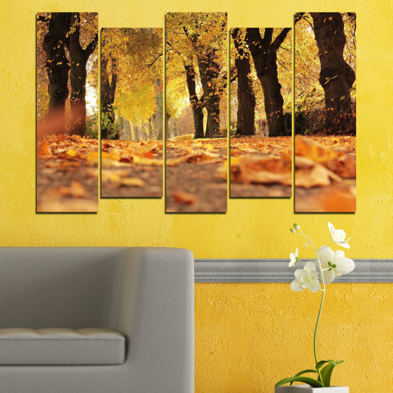 Canvas prints & wall decorative panels - 5 pieces №0701 » Yellow, Orange, Brown, Black » Forest, Spring, Tree, Autumn, Wood, Leaves, Park, Alley, Yellow, Fall Form #3