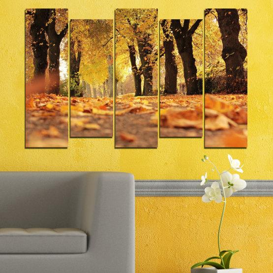 Εκτύπωση σε καμβά και διακοσμητικά πάνελ τοίχου - 5 τεμάχια №0701 » Κίτρινος, Πορτοκάλι, Καστανός, Μαύρος » Δάσος, Άνοιξη, Δέντρο, Φθινόπωρο, Ξύλο, Φύλλα, Πάρκο, Δρομάκι, Κίτρινος, Πτώση Form #3