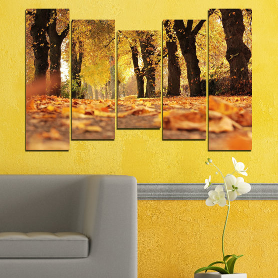 Canvas prints & wall decorative panels - 5 pieces №0701 » Yellow, Orange, Brown, Black » Forest, Spring, Tree, Autumn, Wood, Leaves, Park, Alley, Yellow, Fall Form #4