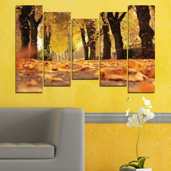 Εκτύπωση σε καμβά και διακοσμητικά πάνελ τοίχου - 5 τεμάχια №0701 » Κίτρινος, Πορτοκάλι, Καστανός, Μαύρος » Δάσος, Άνοιξη, Δέντρο, Φθινόπωρο, Ξύλο, Φύλλα, Πάρκο, Δρομάκι, Κίτρινος, Πτώση Form #4