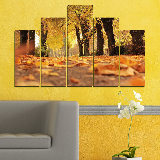 Canvas prints & wall decorative panels - 5 pieces №0701 » Yellow, Orange, Brown, Black » Forest, Spring, Tree, Autumn, Wood, Leaves, Park, Alley, Yellow, Fall Form #5