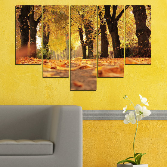 Canvas prints & wall decorative panels - 5 pieces №0701 » Yellow, Orange, Brown, Black » Forest, Spring, Tree, Autumn, Wood, Leaves, Park, Alley, Yellow, Fall Form #6