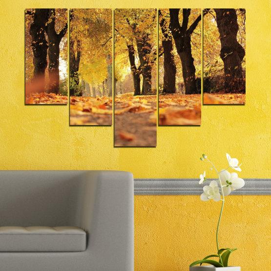 Εκτύπωση σε καμβά και διακοσμητικά πάνελ τοίχου - 5 τεμάχια №0701 » Κίτρινος, Πορτοκάλι, Καστανός, Μαύρος » Δάσος, Άνοιξη, Δέντρο, Φθινόπωρο, Ξύλο, Φύλλα, Πάρκο, Δρομάκι, Κίτρινος, Πτώση Form #6