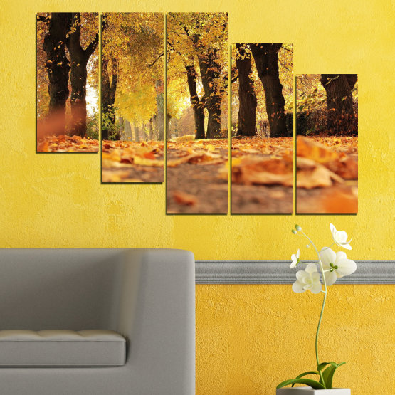 Canvas prints & wall decorative panels - 5 pieces №0701 » Yellow, Orange, Brown, Black » Forest, Spring, Tree, Autumn, Wood, Leaves, Park, Alley, Yellow, Fall Form #7