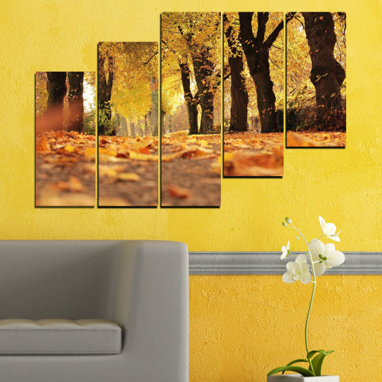 Canvas prints & wall decorative panels - 5 pieces №0701 » Yellow, Orange, Brown, Black » Forest, Spring, Tree, Autumn, Wood, Leaves, Park, Alley, Yellow, Fall Form #8