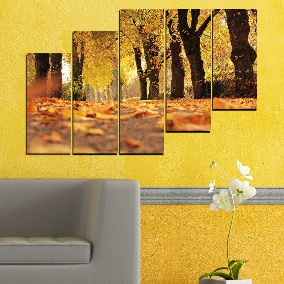 Εκτύπωση σε καμβά και διακοσμητικά πάνελ τοίχου - 5 τεμάχια №0701 » Κίτρινος, Πορτοκάλι, Καστανός, Μαύρος » Δάσος, Άνοιξη, Δέντρο, Φθινόπωρο, Ξύλο, Φύλλα, Πάρκο, Δρομάκι, Κίτρινος, Πτώση Form #8