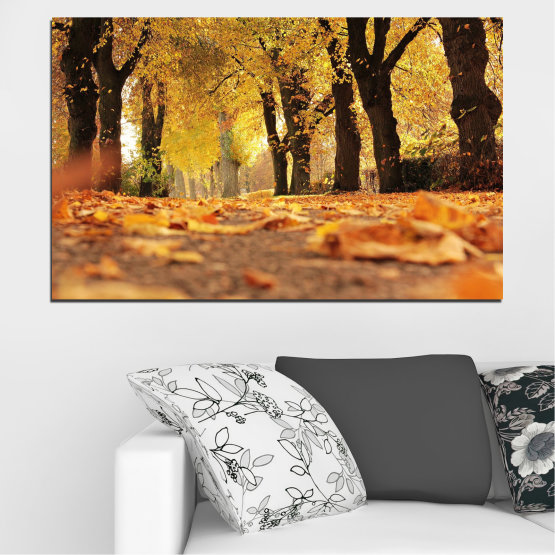 Canvas prints & wall decorative panels - 1 piece №0701 » Yellow, Orange, Brown, Black » Spring, Forest, Tree, Autumn, Wood, Leaves, Park, Alley, Yellow, Fall Form #1