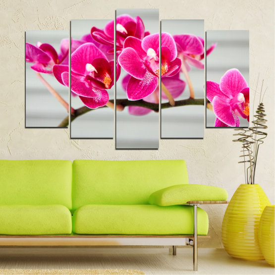 Canvas prints & wall decorative panels - 5 pieces №0702 » Red, Pink, Gray, Milky pink » Flowers, Orchid, Bouquet, Decoration, Flower, Purple Form #1