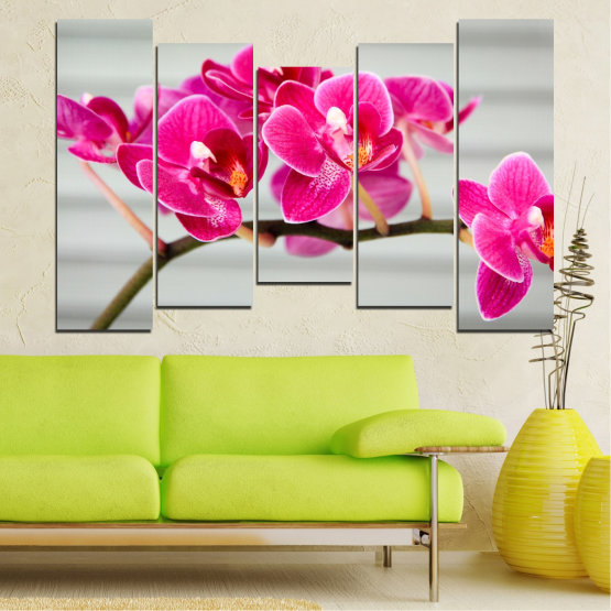 Canvas prints & wall decorative panels - 5 pieces №0702 » Red, Pink, Gray, Milky pink » Flowers, Orchid, Bouquet, Decoration, Flower, Purple Form #4