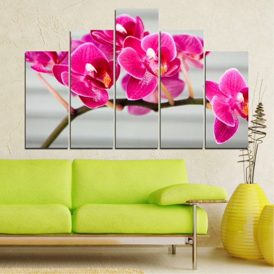 Canvas prints & wall decorative panels - 5 pieces №0702 » Red, Pink, Gray, Milky pink » Flowers, Orchid, Bouquet, Decoration, Flower, Purple Form #5