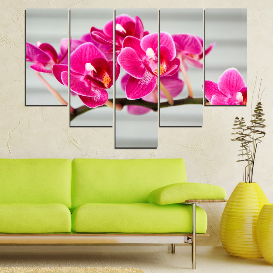 Canvas prints & wall decorative panels - 5 pieces №0702 » Red, Pink, Gray, Milky pink » Flowers, Orchid, Bouquet, Decoration, Flower, Purple Form #6