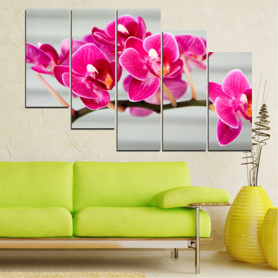 Canvas prints & wall decorative panels - 5 pieces №0702 » Red, Pink, Gray, Milky pink » Flowers, Orchid, Bouquet, Decoration, Flower, Purple Form #7