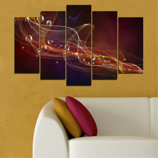 Canvas prints & wall decorative panels - 5 pieces №0703 » Red, Brown, Black, Dark grey » Abstraction, 3d, Light, Artistic, Vivid Form #1
