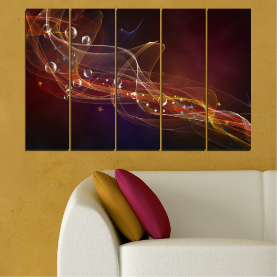 Canvas prints & wall decorative panels - 5 pieces №0703 » Red, Brown, Black, Dark grey » Abstraction, 3d, Light, Artistic, Vivid Form #2