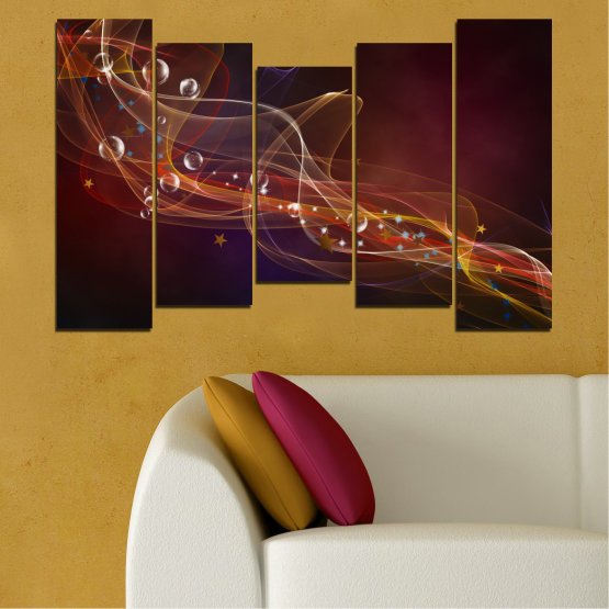 Canvas prints & wall decorative panels - 5 pieces №0703 » Red, Brown, Black, Dark grey » Abstraction, 3d, Light, Artistic, Vivid Form #4